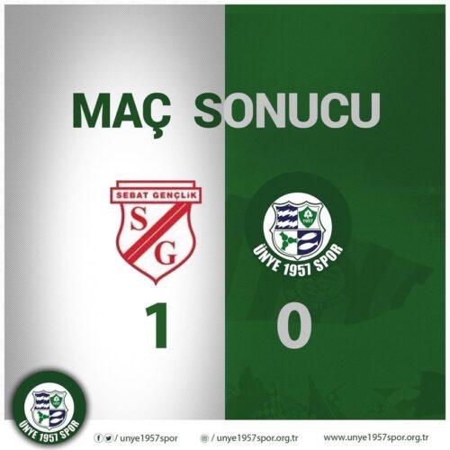 Ünye 1957 Spor Trabzon deplasmanında Sebat Gençlik Spor'a 1-0 mağlup oldu.